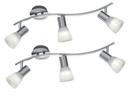 LED Deckenstrahler 3 Spots dreh+schwenkbar 2er Set Deckenlampen in Nickel matt