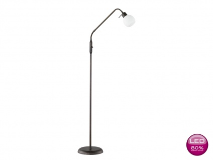 LED Stehlampe Leselampe flexibel, rost antik Glas weiß, Stehleuchte Landhaus