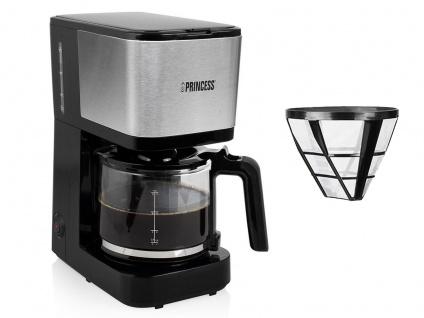 Kaffeemaschine Edelstahl Set mit Glaskanne für 12 Tassen & 2x Permanentfilter