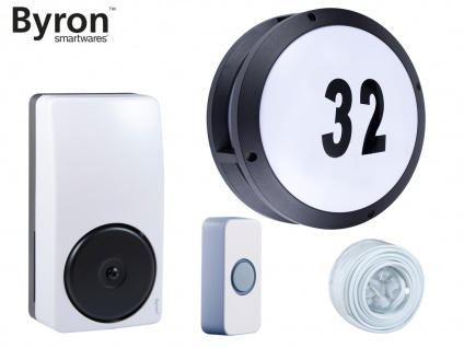 2-Draht Türklingelset und Hausnummer LED Wandleuchte rund Ø 26cm, Klingel Gong