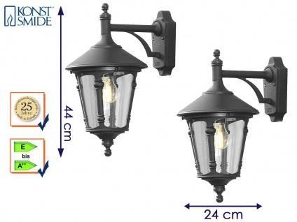 2er Set Außenwandleuchte Laterne schwarz, Lampe Hauswand Terrasse Konstsmide