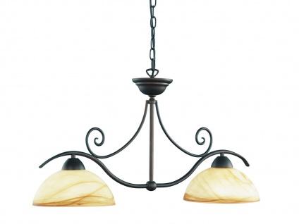 2-flg. Hängelampe, Landhausstil, Glas marmoriert, Wofi-Leuchten