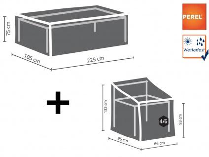 Abdeckplanen Set: 1x Plane für Tisch max. 220cm + 1x Hülle für 4-6 Stühle 90cm