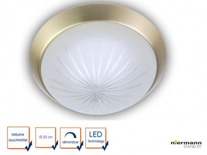 Design LED Deckenleuchte rund LED Landhausleuchte Ø25cm Schliffglas Messing matt