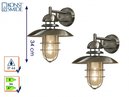 2 Stk Konstsmide Außenleuchte Wandlampe SORRENTO Edelstahl, Laterne außen IP44