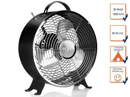 RETRO Tischventilator schwarz 2 Stufen Ø 25cm leise tragbar Camping Luftkühler