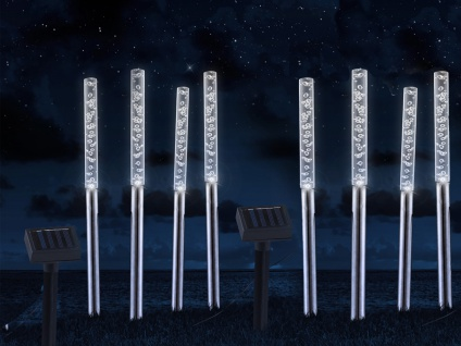 LED Luftblasen Solarstäbchen 2er SET mit 8 Erdspießleuchten für draußen & Garten