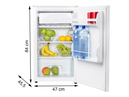Kompakter Kühlschrank freistehend 82ltr & 11ltr Gefrierfach Standgerät in weiß