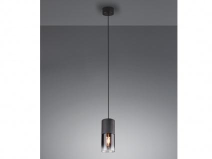 Einflammige Rauchglas Pendelleuchte für über Kochinsel Esstisch Zylinder schwarz - Vorschau 5