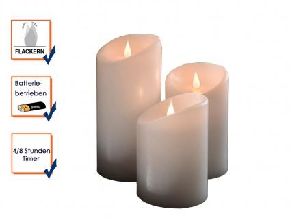 3er Set LED Echtwachskerze 3D Flamme & Timer Batteriebetrieb Ø 10cm Dekoleuchte - Vorschau 3