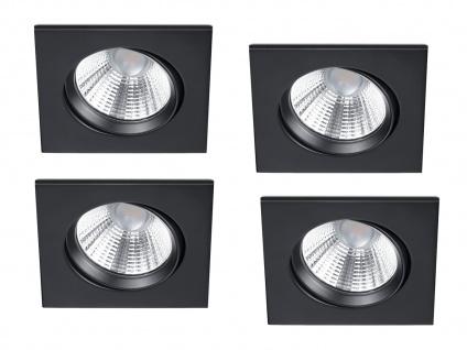 4er Set LED Einbaustrahler Decke eckig schwenkbar dimmbar Schwarz matt 5, 5 Watt