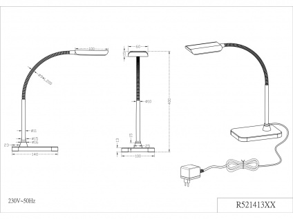 Moderne LED Schreibtischleuchte flexibel & biegsam PICO in Weiß, 28cm hoch - Vorschau 5