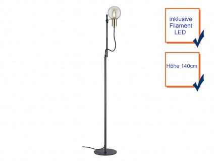 LED Stehleuchte höhenverstellbar bis 140cm hoch in schwarz matt Glasschirm Kugel - Vorschau 3