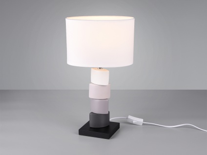 Kleine Tischleuchte 1 flammig Keramikfuß mehrfarbig weißer Stoffschirm Höhe 43cm