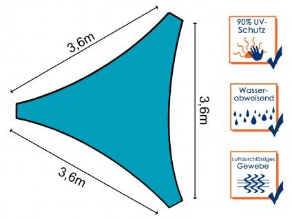 Sonnensegel Dreieckig Blau 3, 6m mit Stangenset für den Garten Sonnenschutzsegel - Vorschau 4