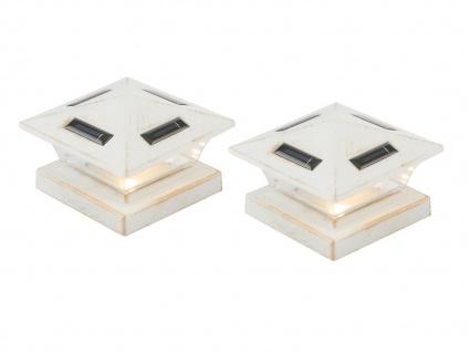 LED 2X Solarlampen für Zaunpfosten, Terrassenbeleuchtung, Balkongeländer, weiß