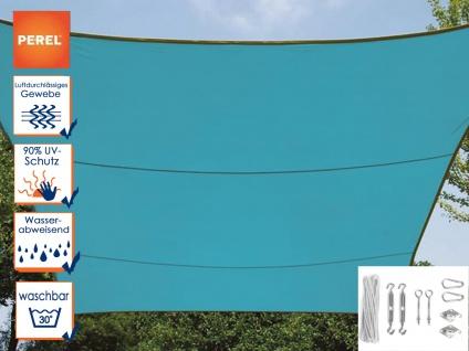 Sonnensegel Rechteckig 3x4m Blau mit Ösen für Balkon Terrasse Sonnenschutzsegel