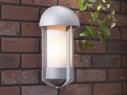 Silberne Aluminium Wandleuchte Wandlampe TYR, E27, opales Acryglas