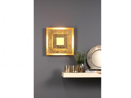 Angesagte LED Innenlampe für Wand und Decke mit Blattgoldoptik Design eckig 32cm