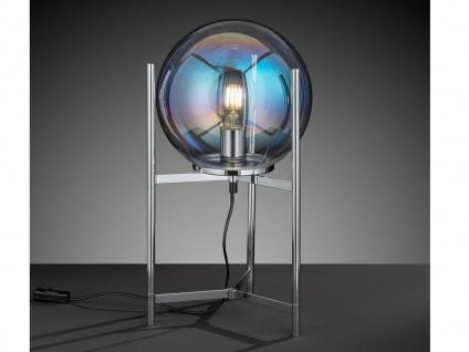 Retro Design Nachttischlampe Chrom mit Kugelschirm klares Glas - fürs Wohnzimmer