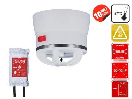 Brandschutz Set: Mini Wärmemelder & Design Feuerlöschdecke 120x120cm weiß / grau