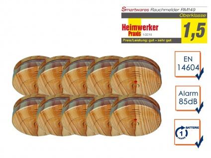 10er-SET Rauchwarnmelder in Holzoptik Feuermelder Brandmelder Feuer Brand Alarm