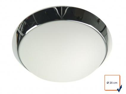 Deckenleuchte rund, Opalglas matt, Dekorring Chrom, Ø 25cm Büroleuchte - Vorschau 2