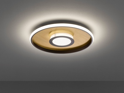 Flache LED Deckenleuchte BUG rund Ø44cm mit Fernbedienung, Gold matt & Rostoptik