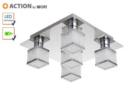Wofi LED Deckenleuchte EXETER 5-flammig, Chrom Kristalle, Deckenlampe Wohnzimmer