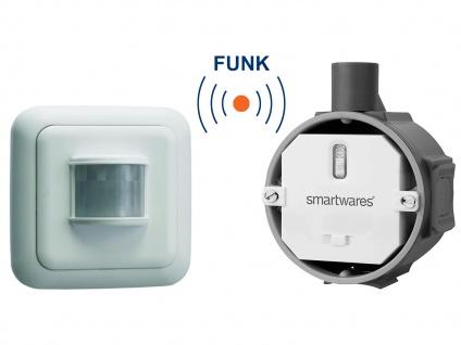 Funk Schalter Set = Funk-Einbauschalter + Bewegungsmelder 1000W 110°/6m