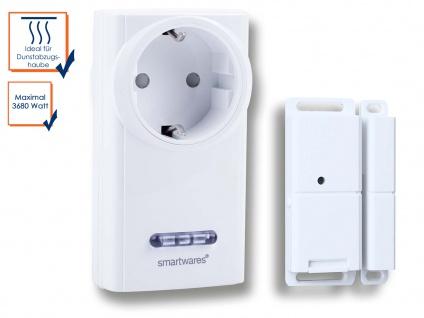 SmartHome Funk-Abluftsteuerung mit Tür-/Fenster-Magnetkontakt und Funksteckdose
