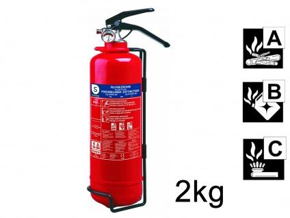 Pulverlöscher Feuerlöscher 2kg, Brandklasse A, B, C, Manometer Halterung