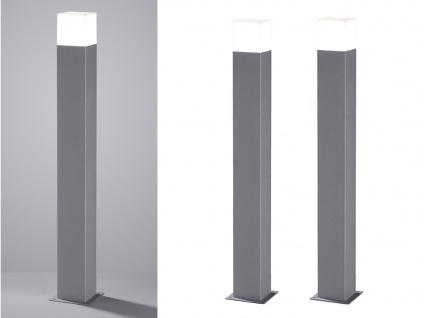 LED Pollerleuchte Titanfarben 80cm - 2er Set Wegeleuchten Terrassenbeleuchtung