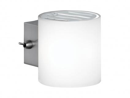 Moderne Wandleuchte mit Schalter, Glas opal weiß Wofi-Leuchten