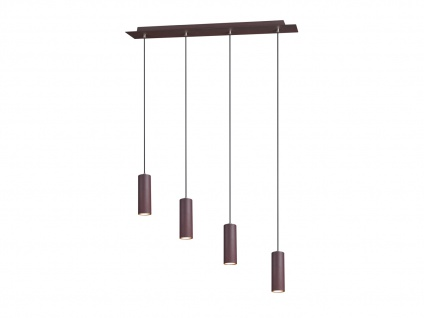 Moderne 4 fl. Pendelleuchte für Wohnzimmer, Schlafzimmer, Küche, Metall rostfarbig