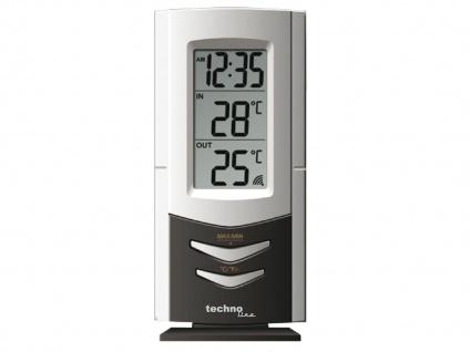 Temperaturstation, integrierte Quarzuhr, silber-schwarz WS 9170