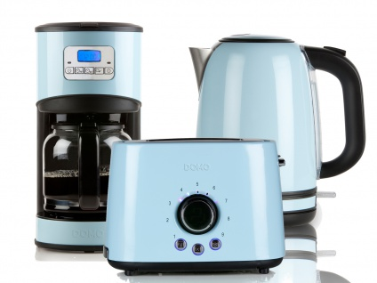 Frühstücksset im Retro Design Blau Filterkaffeemaschine Wasserkocher und Toaster