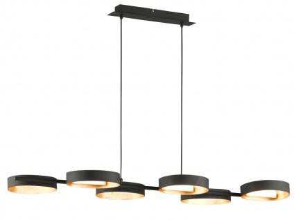 Design LED Pendelleuchte Schwarz/Blattgold-Optik höhenverstellbar - Esszimmer