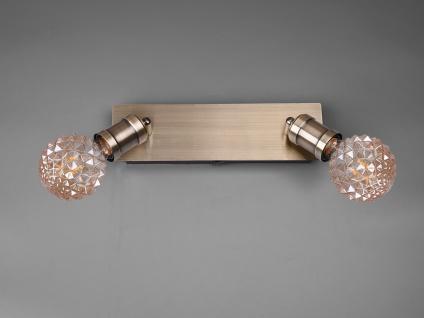 2 flammiger Wandstrahler mit dekorativen LEDs und schwenkbaren Spots aus Metall