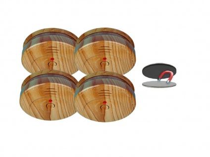 4er SET Rauchmelder Holzoptik 5 Jahres Batterie & Magnetbefestigung, Feueralarm - Vorschau 2