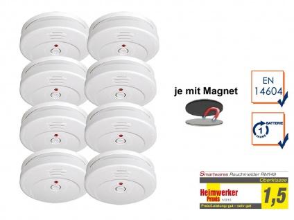 8er SET Rauchmelder TÜV zertifiziert & EASY Magnetmontage, Brand Feuer Melder