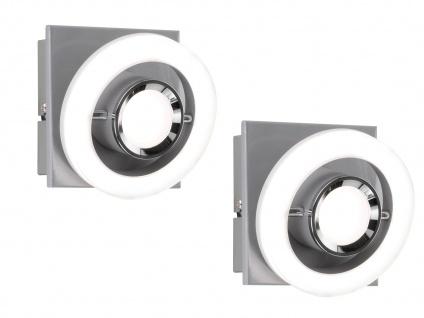 2x LED Wandleuchte Ringe getrennt schaltbar kippbar 8, 3W Silber Flurbeleuchtung