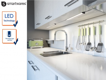 2x LED-Lichtleiste mit Bewegungssensor 2 Funktionen L 46cm Einbau Schränke Möbel