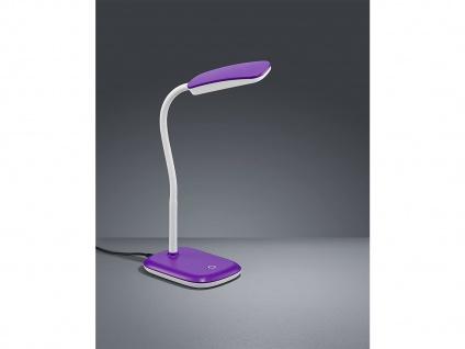 Moderne LED Schreibtischleuchte flexibel in Lila, 36cm hoch mit Touch Dimmer