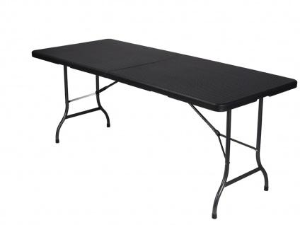 Robuster Klapptisch Rattan-Look 180x75cm mit Stretch Husse, Garten Camping Tisch - Vorschau 3