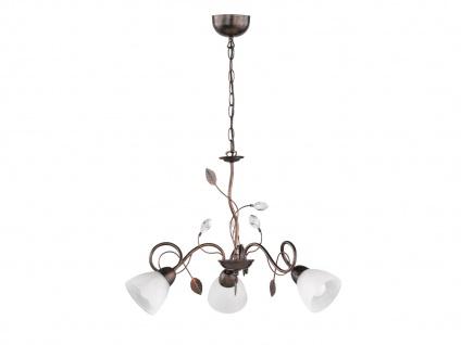 Blätterdesign Lüster im Antik Florentiner Stil mit 3 dimmbaren LEDs, rostfarbig