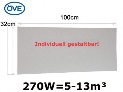 270W Infrarotheizung, 100x32cm, für Räume 5-32m³, bemalbar, IP44 - Vorschau 1