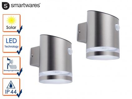 2 LED Solar Außenleuchten mit Bewegungsmelder Edelstahl Wandlampe IP44 Downlight