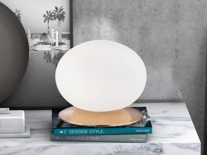Ovale Tischleuchte mit Glaskugel weiß Ø22cm Design gold antik - Wohnzimmerlampe