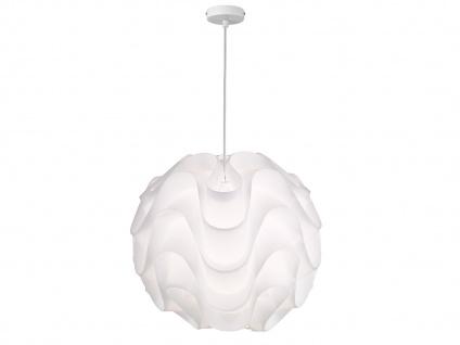 Ausgefallene LED Kugelleuchte aus Kunststoff weiß, Ø 45cm dimmbare Hängeleuchte
